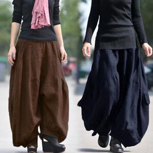 215aec4d3c71c Image is loading ZANZEA-Women-Retro-Cotton-Harem-Pants-Drop-Crotch-