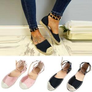Women-Lady-Rivet-Flat-Platform-Espadrille-Buckle-Peep-Toe-Sandals-Leisure-Shoes