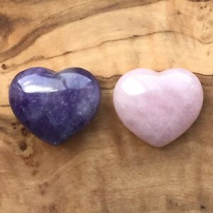 Rose Quartz Heart and Amethyst Heart Gift Set 25mm Love Healing Calm Meditation