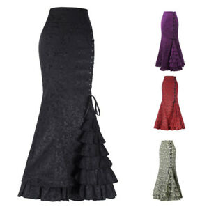 daba643c944fd Vintage Women Steampunk Gothic Skirt Lace Up Maxi Mermaid Ruffle ...