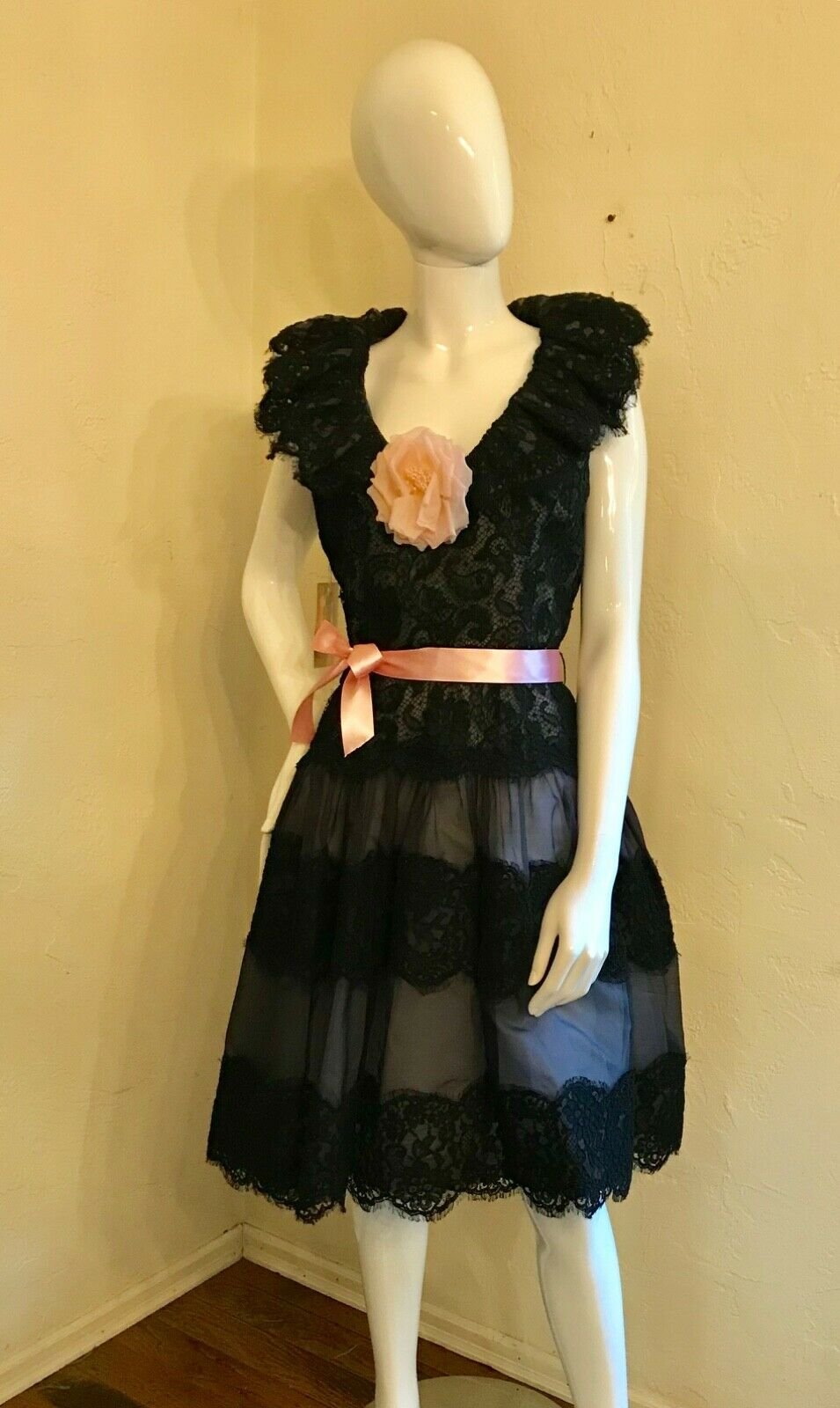 VINTAGE 1980's SCAASI BOUTIQUE Black Lace Cocktai… - image 9
