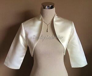 Ivory-Satin-Wedding-Bolero-Shrug-Jacket-Stole-Wrap-Shawl-Tippet-3-4-Sleeve-New