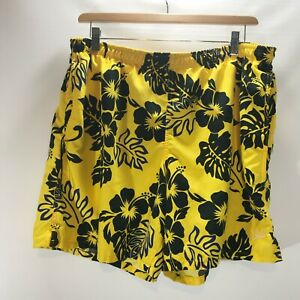 Speedo-Swim-Trunks-Shorts-Size-L-Large-Pockets-Lined-Yellow-Tropical-Print-Mens