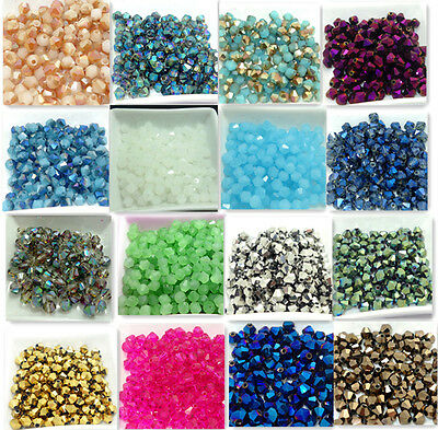 hot 50pcs Faceted bicone crystal glass jade  loose Spacer beads 6mm Wholesale