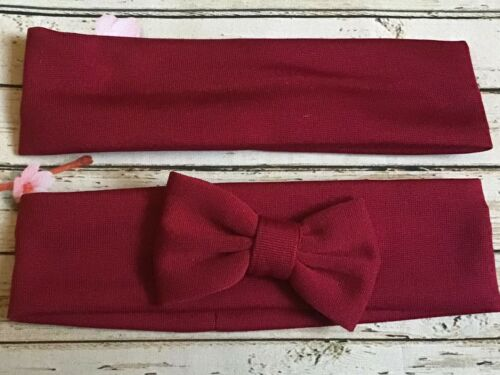 NEW PACK 2 MINI BABY TODDLER 1 PLAIN 1 BOW JERSEY STRETCH HEADBAND HAIR BAND