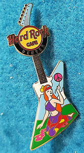 Denver-Pace-Chitarra-Global-Serie-2007-Happy-Hippie-Girl-Rigida-Rock-Cafe-Pin-Le