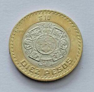 Hermosa Moneda de $10 pesos Tonatiuh Mexico 2019 con Error en Anverso