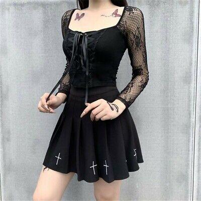 Lolita Punk Women Gothic Lace Up Mesh Shoulder Short Long Sleeve Lace Crop Tops