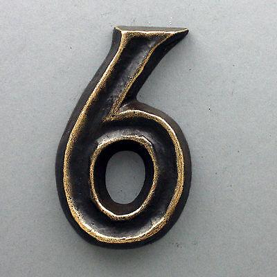 Ziffer 6 Classic Bronze Hausnummer 12 cm handgefertigt Hausnummern Anft ca