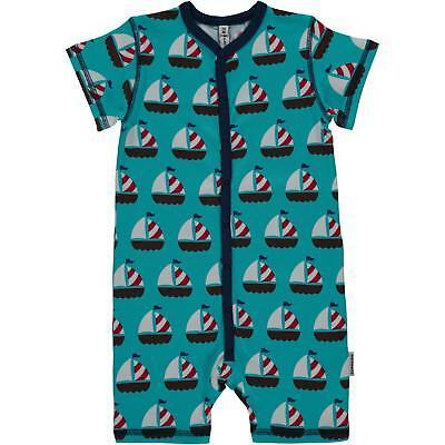 NEW Maxomorra Blue Whale Short Button Organic Cotton Rompersuit