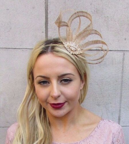 Gold Silver Sinamay Feather Fascinator Races Cocktail Alice Band Headband 4475