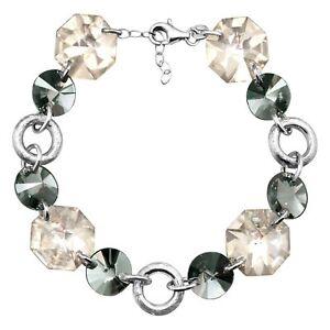 CRYSTALUXE-Link-Bracelet-avec-Smokey-cristaux-Swarovski-en-argent-sterling