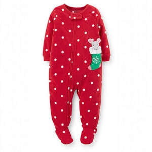 55b48d071 New NWT 2T 3T 4T Girls Carter s Microfleece footed pajamas red ...