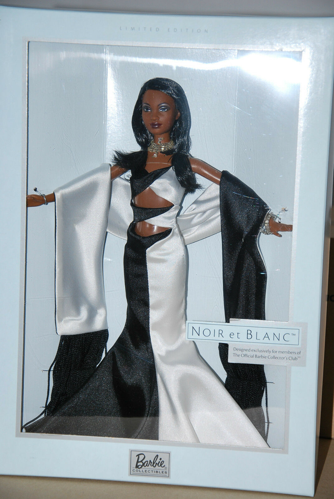 negro ET blanco BARBIE DOLL, OFFICIAL BARBIE COLLECTOR CLUB EXCLUSIVES, 2003, NRFB