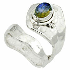 Labradorit, blau elegant modern Design Ring, Ø 19,0 mm, 925 Sterling Silber neu