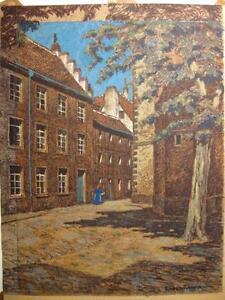 LUDOLF-TRAUTMANN-1868-MUNCHEN-ALTSTADTANSICHT-PERSON-KREIDEZEICHNUNG-UM-1900