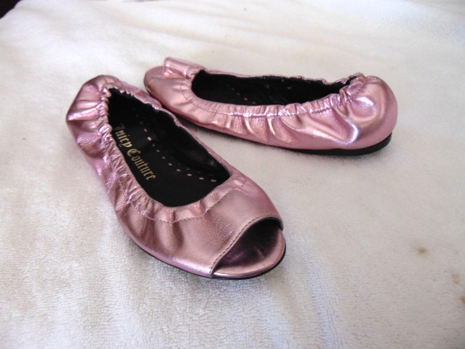 Totalmente nuevo para mujer mujer mujer zapato de ballet Juicy Couture Talla 6.5 M rosado Cuero Sólido plana  329  excelentes precios