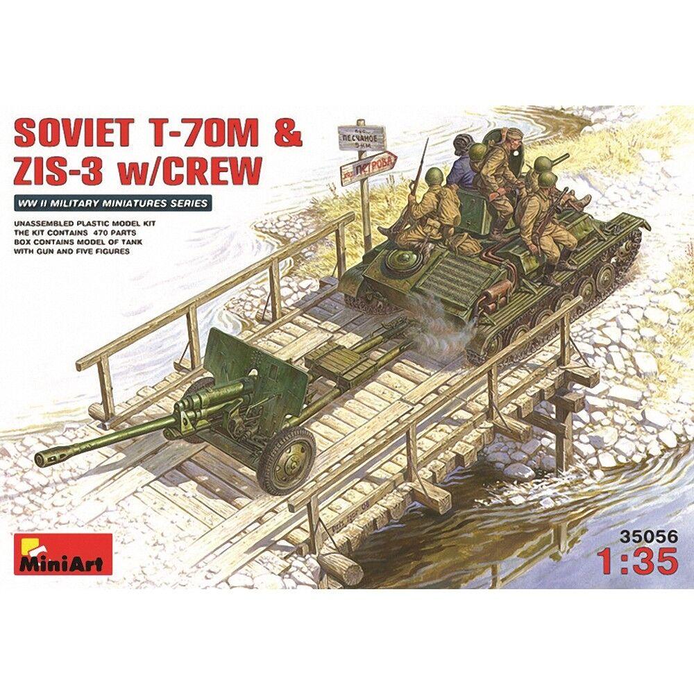 Miniart 1 35 - Soviet T-70m &zis-3 With Crew - 135 Zis3 T70 Kit Model Min35056