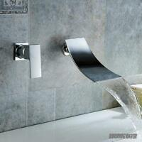 Modern Bathroom Taps Waterfall Wall Mounted Basin Sink Mixer Tap Chrome Faucet