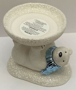 BATH-amp-BODY-WORKS-3-WICK-CANDLE-HOLDER-WHITE-GLITTER-SPARKLY-POLAR-BEAR-PEDESTAL