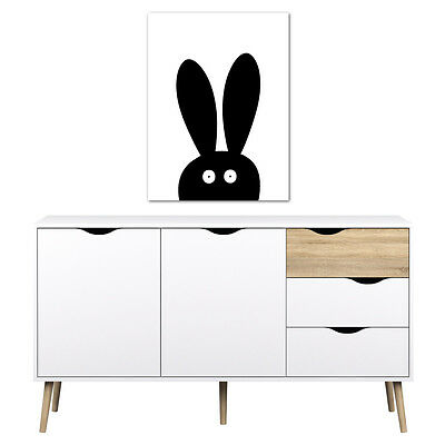 Black and White Bunny Rabbit Print Poster - Nursery Children Kids Bedroom Art 1W