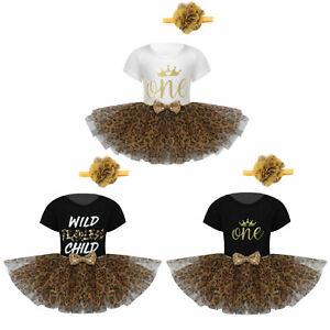 Baby Girl Clothes Bodysuit Leopard Tutu Skirt Flower Short Sleeve Romper Outfit