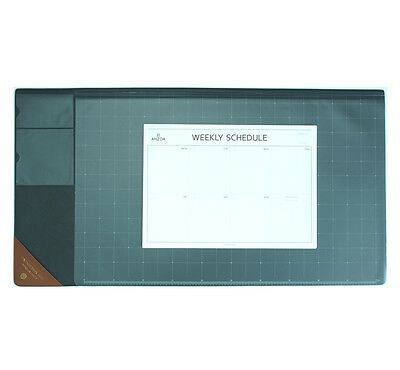 """10day Shipping, Wide Vintage Desk Pad gray 25x13"""" with Weekly Schedulers"""