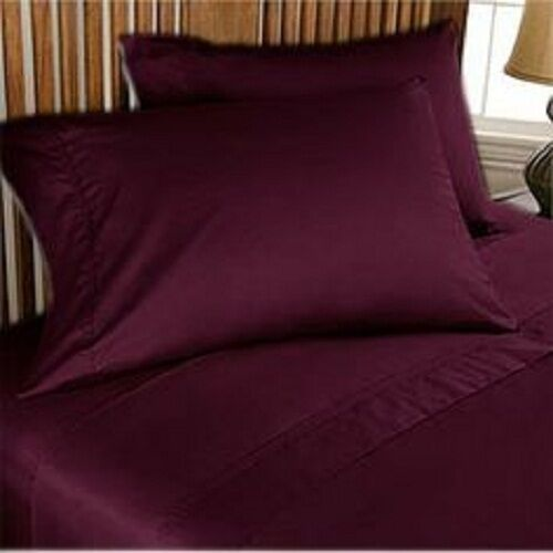 Duvet Set + Fitted Sheet Super King Größe Wine Solid 1000 TC Egyptian Cotton
