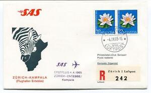 Ffc 1965 Sas First Flight Zurich Entebbe Kampala Uganda Registered Helvetia