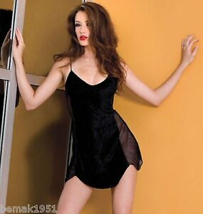 Sexy-Black-Velvet-Mini-Dress-Chemise-with-Fishnet-Sides-One-Size-Music-Legs-6107
