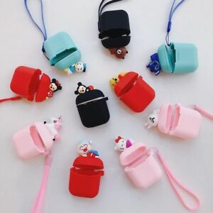 huge selection of a5cff 216a6 Details about Cute Cartoon Earphone Silicone Charging Case Cover For apple  Airpods Lanyard bag