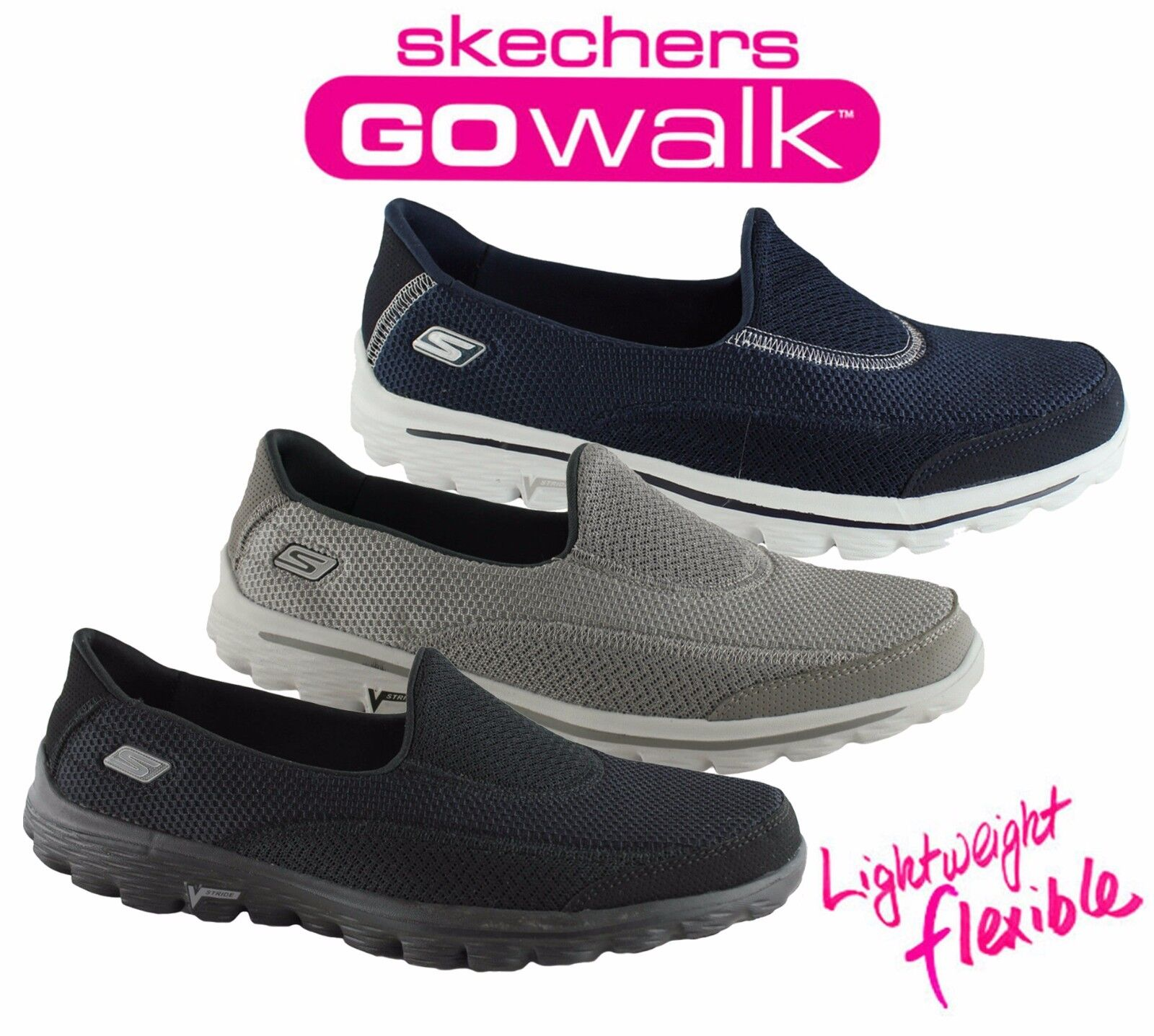 SKECHERS WOMENS GO WALK 2 COMFORTABLE LIGHTWEIGHT CASUAL SHOES/SNEAKERS