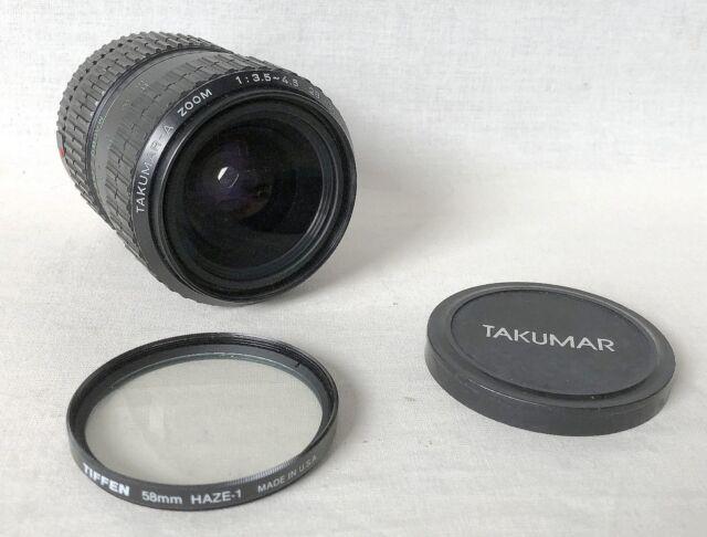 Takumar-A Zoom 1:3.5~4.5 28~80mm with Tiffen 58mm HAZE-1 Filter.