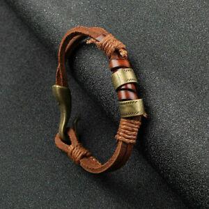 Women-Men-Bracelet-Surfer-Hemp-Cords-PU-Leather-Wrap-Wristband-Cuff-Brown-Unisex