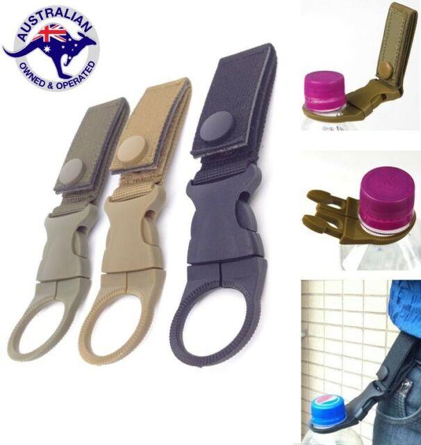 Tactical MOLLE Webbing Strap Clip Water Drink Bottle Holder Hook For Waist Belt