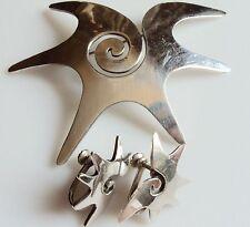 LG. Mexico Sterling Silver Swirl Pin Set w Matching Half Swirl Earrings by Rocha