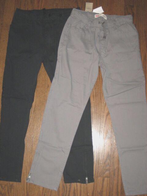 New girls lot large 12-14 Levi's black gray pull on pant pants elastic waist