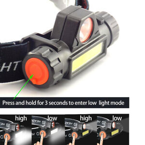 COB-LED-Headlamp-USB-Rechargeable-Mini-Headlight-head-light-Torch-Flashlight-w7