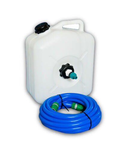 White 23l Water Container with MAINS WATER ADAPTER and 10m Food Grade hose