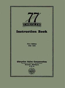1930 chrysler 77 owners manual user guide reference operator book rh ebay com chrysler pacifica user manual chrysler user manual download