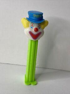 Vintage Clown Pez Dispenser w/Feet Bright Green Stem Blue Hat