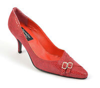 Womens Ladies Pointed Court Shoes Red Pumps Buckle Inch Heel Size 3 4 5 6 7 8 9