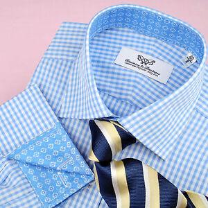 Blue-Plaids-amp-Checks-Business-Dress-Shirt-Gingham-Check-Designer-Floral-Fashion