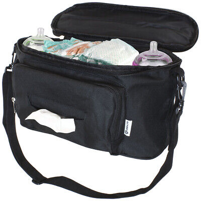 LittleXplorer Buggy Pram Organiser Baby Wet Wipes Pocket Extra Pram Cup Holders Diapers Changing Mat Storage Nappies Bag with Two Ways to Carry Good for Baby-Shower Gift