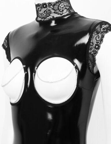 Women Wet Look Lingerie Leather Bodysuit Nightwear Crotchless Underwired Leotard