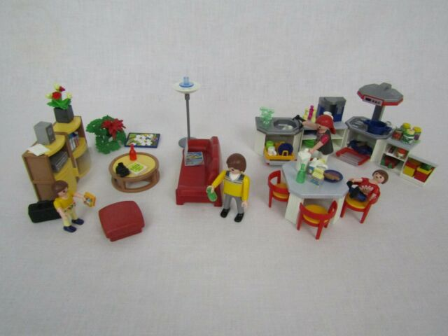Playmobil 3968 Modern Kitchen Dining Living Room Doll House People Set Lot