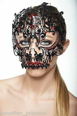 Day of The Dead Black Skull Venetian Laser Cut Masquerade Mask w/ Red Stones