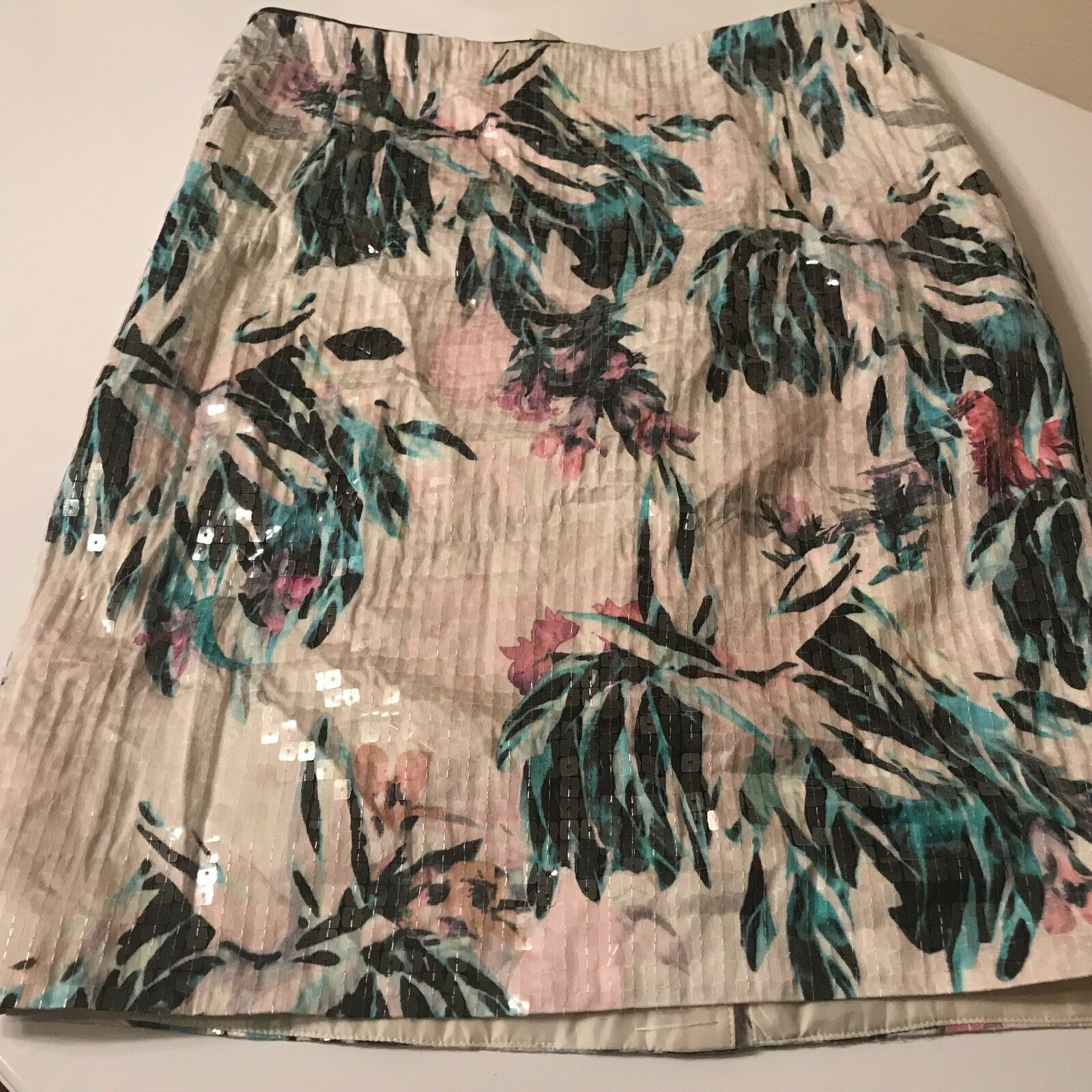 H&M SEQUIN FLORAL FLOWERS PENCIL SKIRT US6 EU36  NWT CONSCIOUS TREND DIVIDED