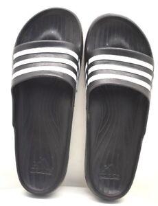 quality design 53ca7 3c902 Image is loading Adidas-Duramo-Sleek-Slides-Black-White-US-Size-