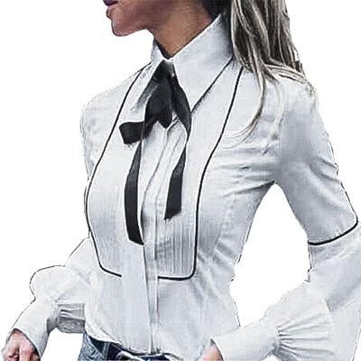 quality design 8c7a2 a5403 Camicia Donna Camicetta Blusa Casacca Manica Lunga Aderente Fiocco Cotone  yy0572 | eBay